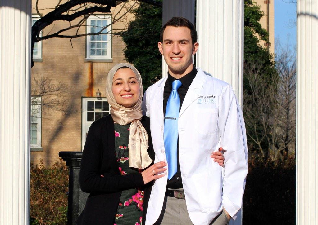 Deah Barakat and his wife Yusor Abu-Salha. Beautiful couple. Dead. Killed execution style in Chapel Hill, NC. http://t.co/8N3ruTINUi