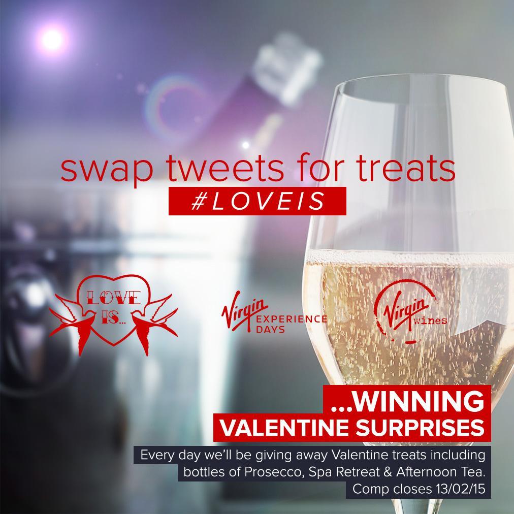 DAY 8: RT & follow @VirginExp @VirginWines. Treats 4 tweets.3 bottles, 3 different fizzes, lets pop!! #LoveIs http://t.co/kqv6oAujae