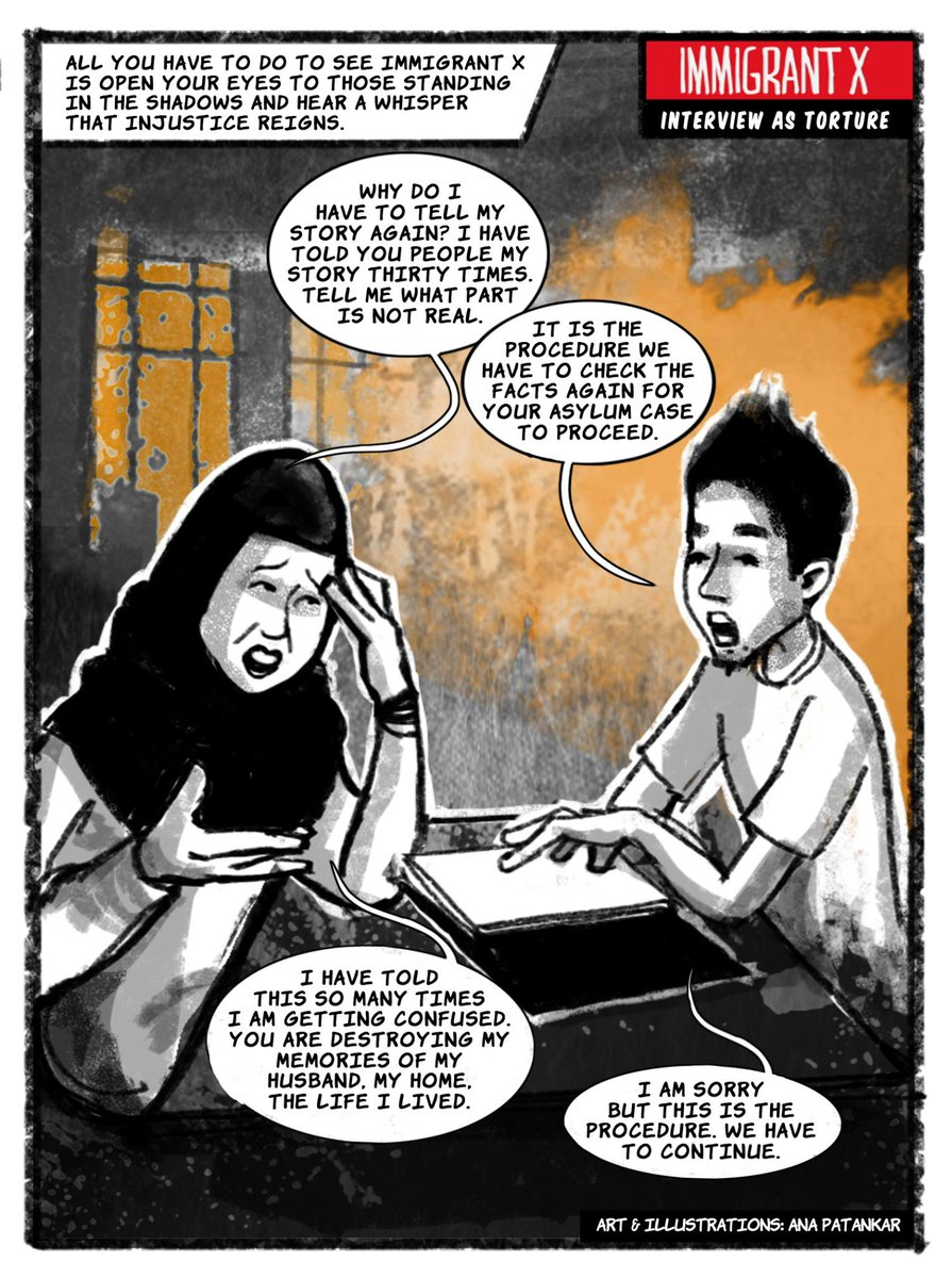 New Graphic Story by Immigrant X; Interview as Torture, Frame 1. Art and Illustrations by @Anaillustrates http://t.co/xTms8UxBon
