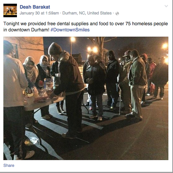 Deah Barakat wanted to spread a smile, this is last post on his FB Profile, he was killed in NC #ChapelHillShooting http://t.co/6gw1JhHG8J