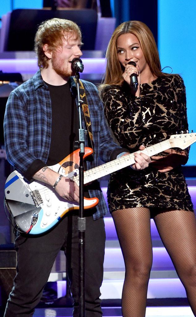 Surprise! Beyoncé rocks out with Ed Sheeran at Stevie Wonder's Grammy tribute: