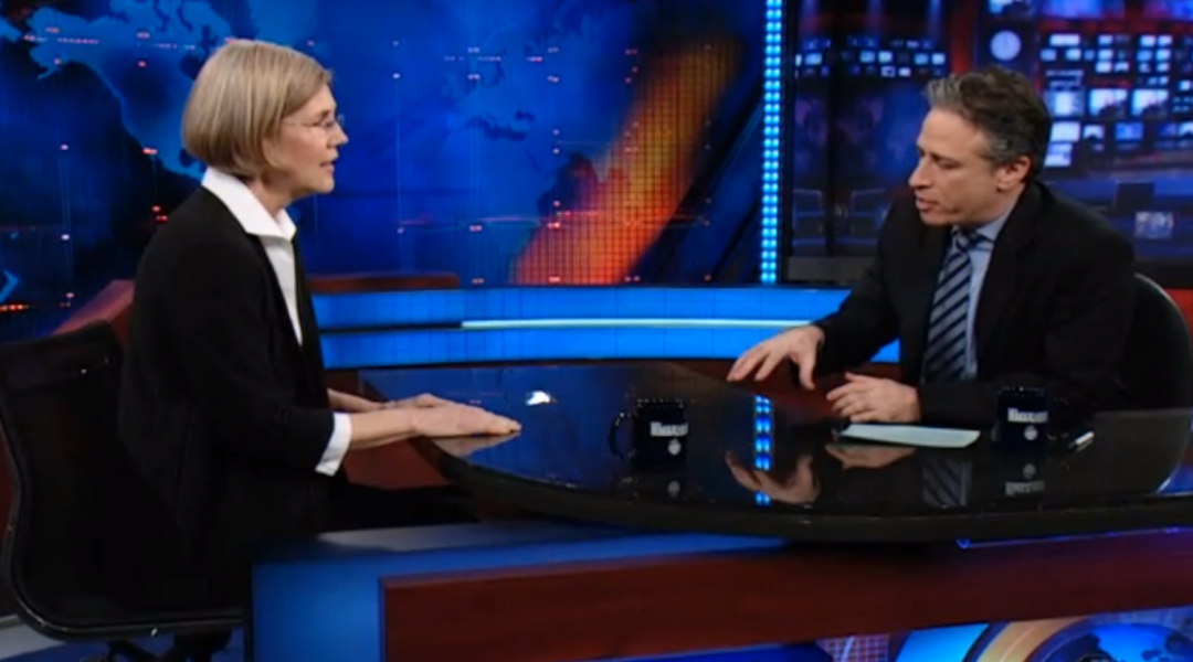 elizabeth warren choked her first time on the daily show. here's how