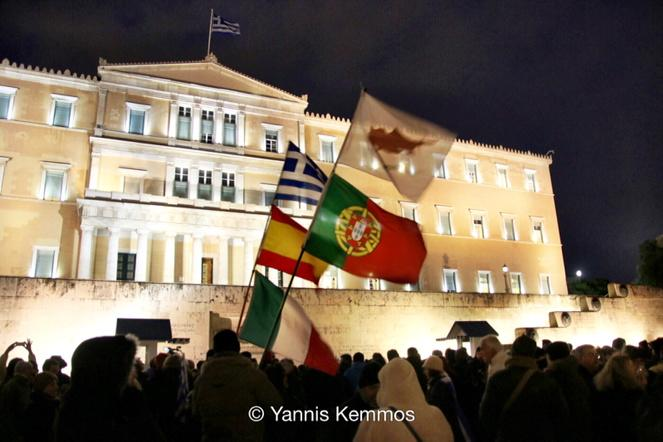 Theodora Oikonomides (@IrateGreek): #mazi Syntagma with a clump of European country flags RT @JohnKemmos: Βουλή τωρα! http://t.co/bZGF0U1aPp