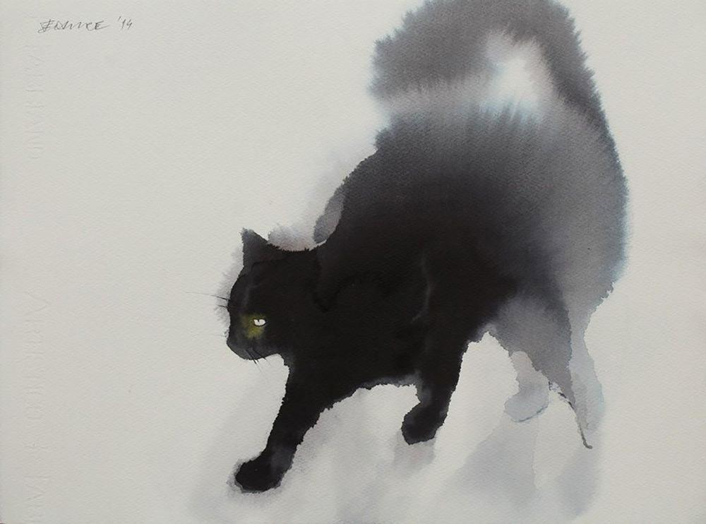 These ghostly watercolor & ink cats by Endre Penovác appear to bleed into the canvas http://t.co/wDCygx1yxJ http://t.co/rQpOVDjeU4