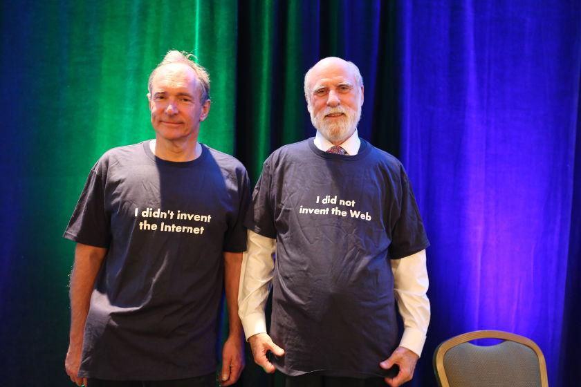As t-shirts about the WWW & Net go, these, worn by @timberners_lee @vgcerf, are epic. HT @W3C #netgain http://t.co/qU0JJve7iN