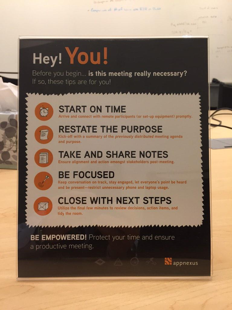 Love this little meeting reminder, in the conference rooms @AppNexus ! http://t.co/NipbqgfEWC