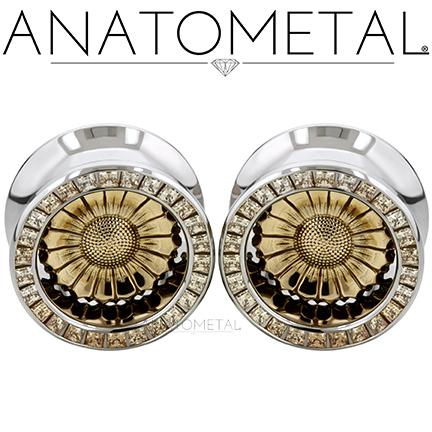 """3/4"""" Sunflower Eyelets in ASTM F-138 stainless steel w/bronze Sunflower Inserts: princess-cut Champagne CZ gemstones http://t.co/JXSktD6HZX"""