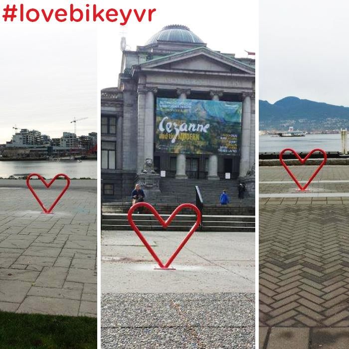 Happy Valentine's Day, Vancouver! These special bike racks are popping up on  the street scape today. #lovebikeyvr http://t.co/AOtHeaelQl