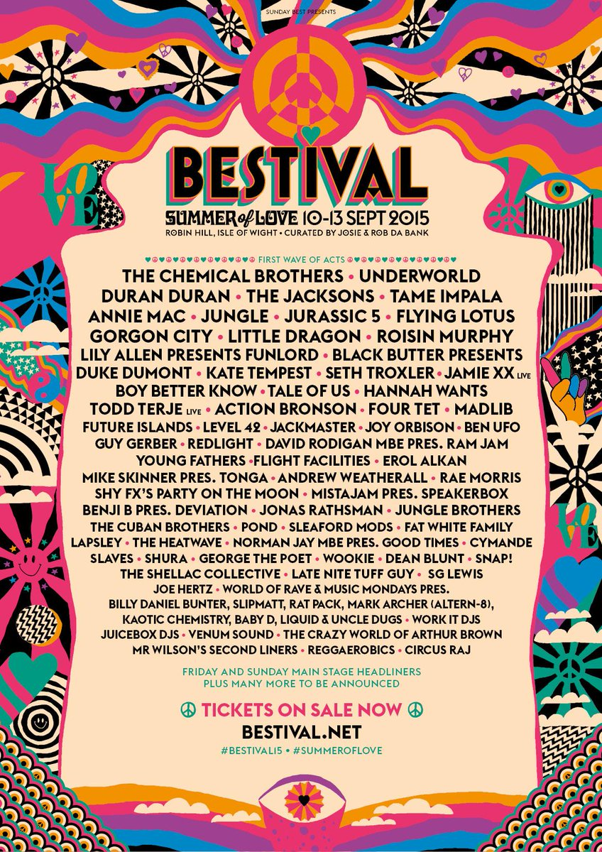 First wave of acts announced! Tickets on sale now! #SummerofLove #Bestival15 http://t.co/qG6DqZ8jSh