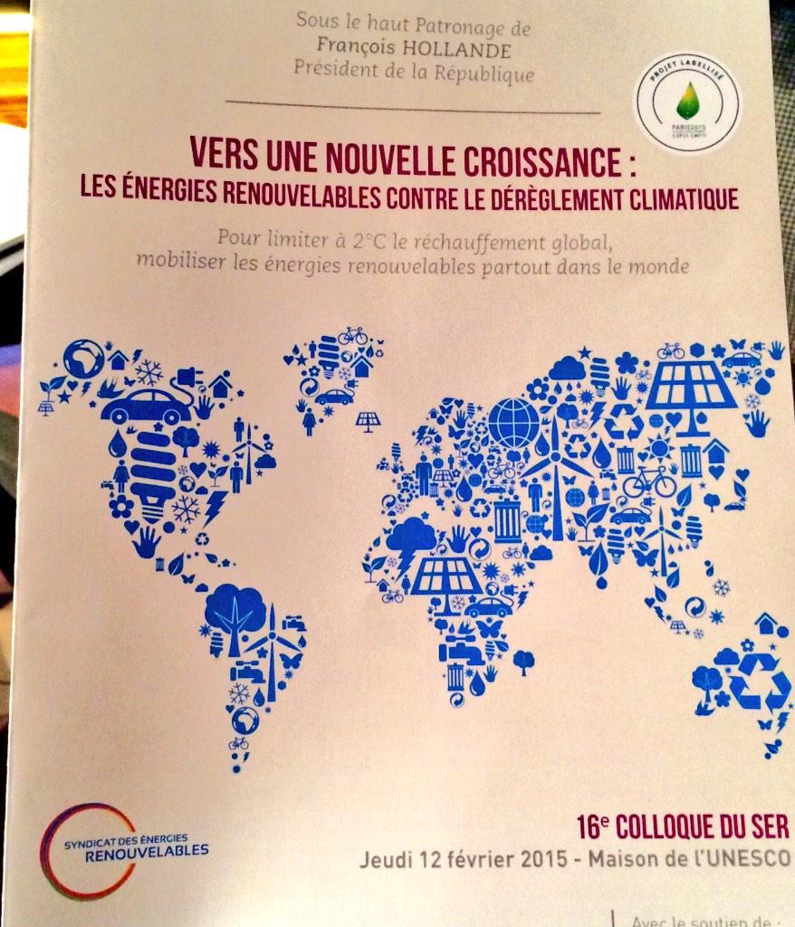 """RT @ecologiEnergie: [#DirectSR] A 14h, @RoyalSegolene ouvre la table-ronde """"L'Europe au coeur des enjeux"""" au colloque du @ser_enr #COP21 ht…"""