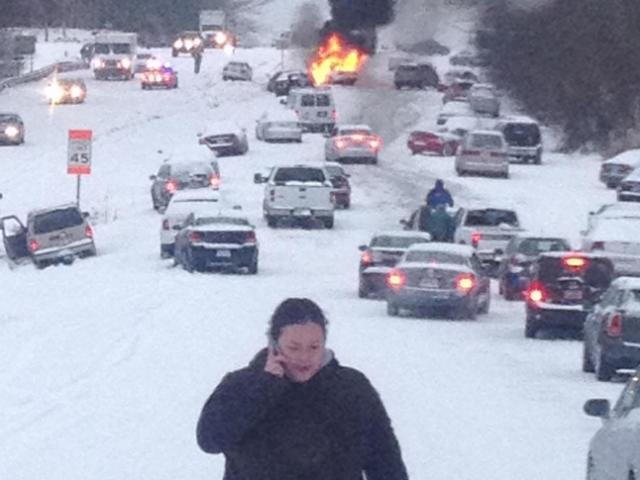 One year ago today, snow led to this on Glenwood Avenue. http://t.co/EB30WuKN1j