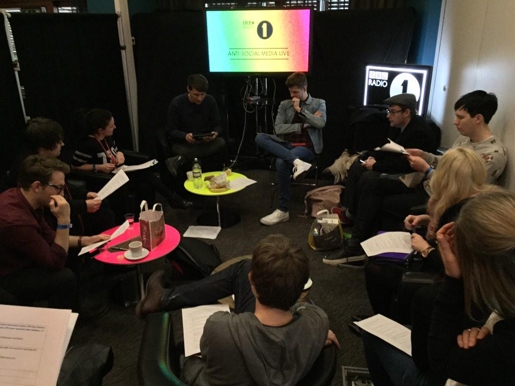 A room full of Internet Vloggers planning for a radio show! @BBCR1 #antisocialmedia http://t.co/MCxdVUMy4r