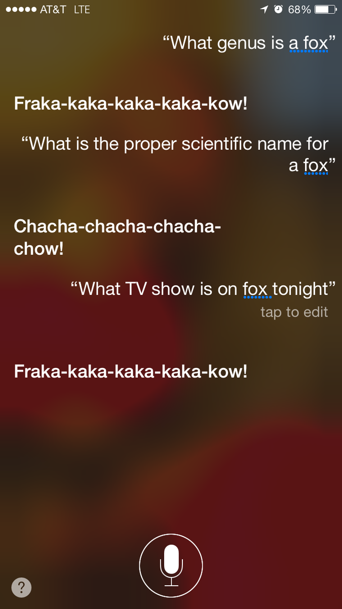 Challenge: get Siri to actually answer a legitimate question about a fox, or Fox TV or anything at all fox related: http://t.co/egtQLxbJ6I