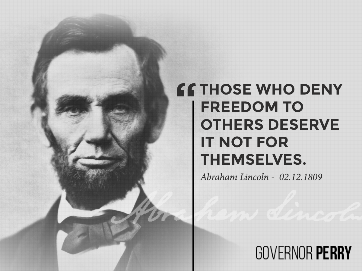 """Those who deny freedom to others deserve it not for themselves."" - Abraham #Lincoln http://t.co/vZkPHFbMvc"