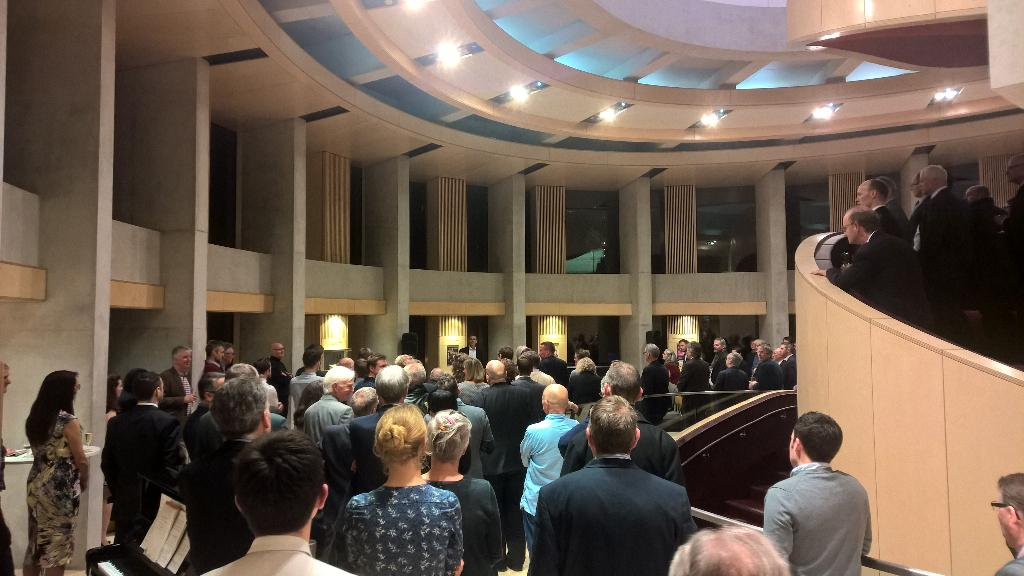 Guests at @pagepark reception in #TheatreRoyal gather to hear David Page speak about the project http://t.co/Ak5kZ9C5zk