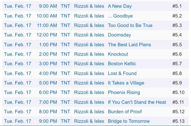 Who's excited for the 12-hour @RizzoliIslesTNT marathon preceding the premiere of episode 5x13 next Tuesday at 9/8c? http://t.co/cV0dleEKQy