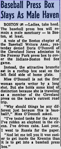 """Woman reporter in 1957: """"it was easier to get inside the Kremlin than it is to get into a baseball press box."""" http://t.co/rXCO0JNqnu"""