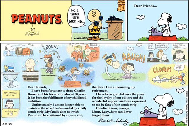 The final @snoopy Peanuts strip appeared 15 years ago today.