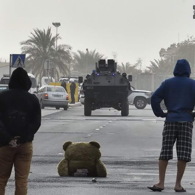 #notphotoshop #Bahrain protesters unleash stuffed teddy bear at riot police.  Picture by @MazenMahdi http://t.co/JmohME3yaP