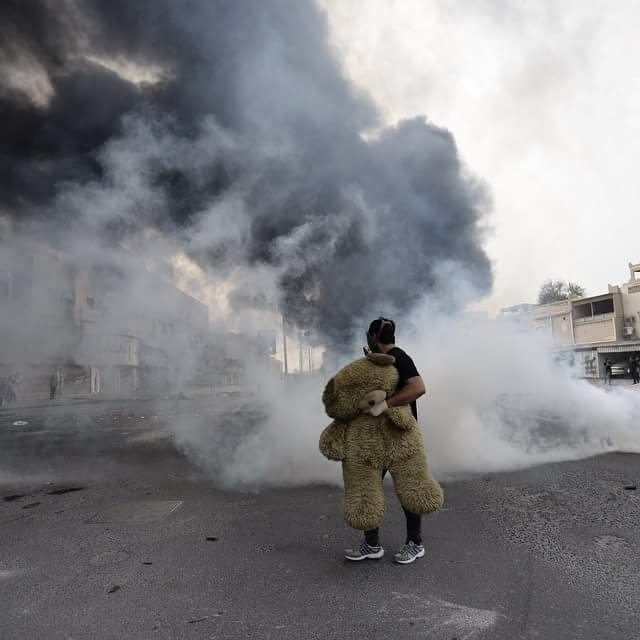 Wonder how many teddy bears were teargassed,  run over, shot and arrested in #Bahrain today. Photo by @MazenMahdi http://t.co/gCMzrKXAlk