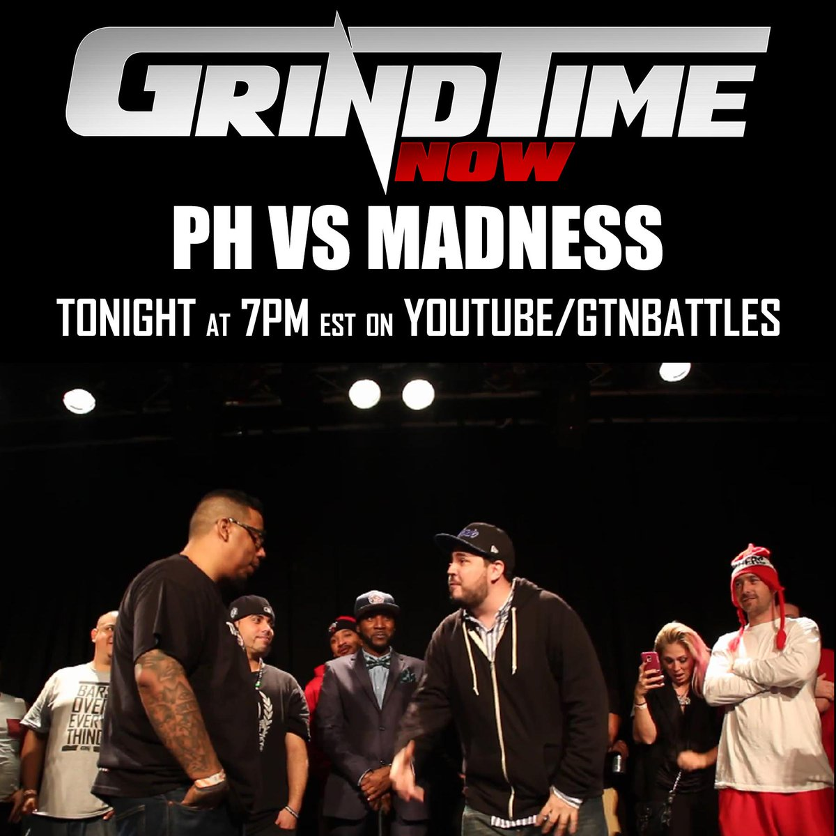 Tonight at 7pm est, MADNESS VS PH for the Championship! http://t.co/epwqnVKhQQ #GrindTimeNow #GTNbattles http://t.co/L2ebRhfwAM