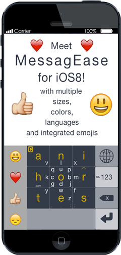 MessagEase for iOS 8 will be available for testing tomorrow ❤ Valentine's Day ❤! Please email if you like to test it! http://t.co/hZwTIWLIf7