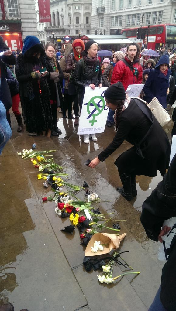 Incredibly moving as a flower is laid for each woman killed @SistersUncut Valentine's day revolt. Many in tears. http://t.co/XopAPKNUl1