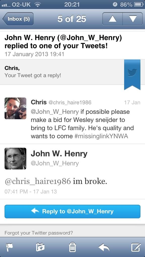 BA1oUb6CcAEjocI Hacked or a denial? John W Henry Tweets im broke to bring Wesley Sneijder to Liverpool