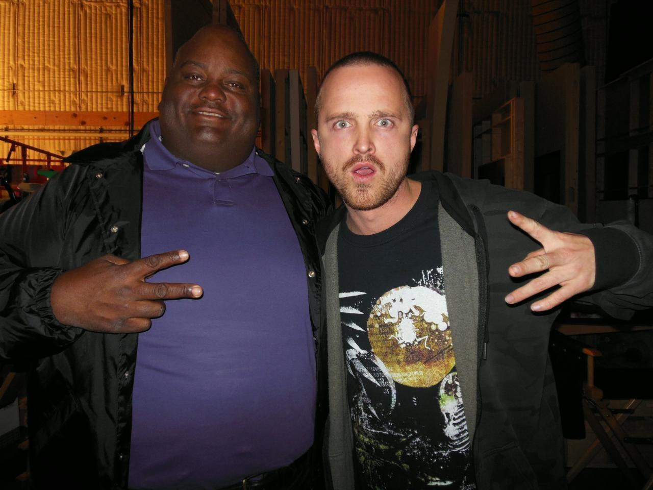 """""""@Lavellthacomic: Aaron Paul from breaking bad an acting monster an honor to work with him http://t.co/heXW1U6G"""" Honor is all mine my friend"""