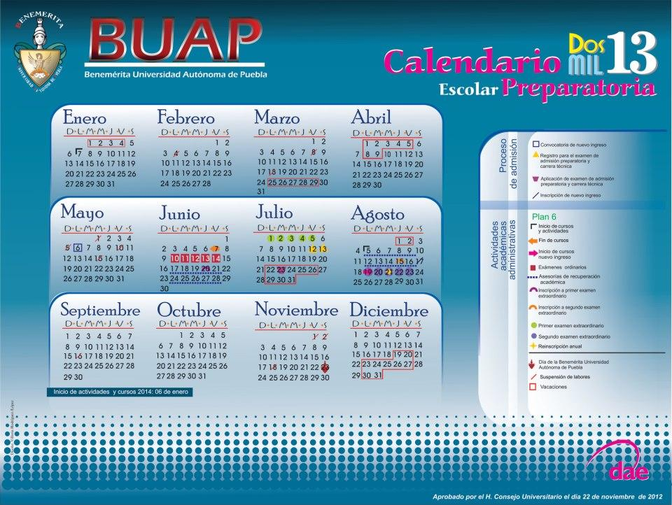 Calendario #BUAP 2013 PREPARATORIAS http://t.co/T14vF8fd