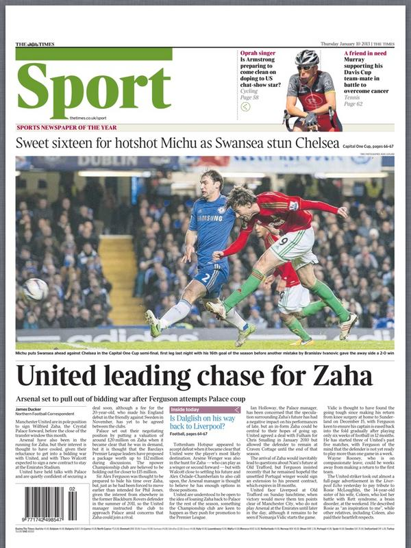 BAM3bz3CEAA6 zA Times: Man United lead chase for Wilfried Zaha; Arsenal set to pull out of race