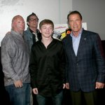 "Great shot from a great night. ""@headgeek666: @BobbyHenline here's another shot of your son & you & @Schwarzenegger"