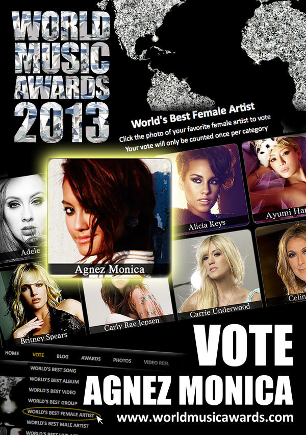 #AgnezMoCokeBottle (@NICofficial): VOTE! VOTE! VOTE! @agnezmo as Best Female Artist #WorldMusicAwards → http://t.co/4mviTd6A • http://t.co/LHSqWydY
