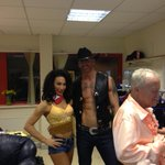 RT @IceJohnstone: Before the show in our cowboy gear:) with @gareththomas14