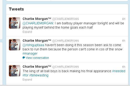 BBU3fn3CUAEbmZb The Tweets Swansea ball boy Charlie Morgan sent before he was kicked by Eden Hazard