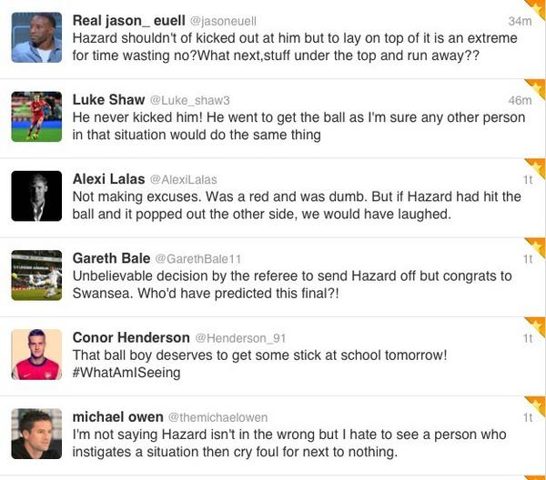 BBVGAzuCMAAyVEA Official Chelsea Twitter account, Michael Owen & Gareth Bale all defend Eden Hazard