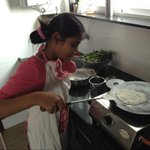 My daughter SA MAYOOKHA( she insists on being addressed so) making my breakfast. ...:)  It is absolutely delicious.