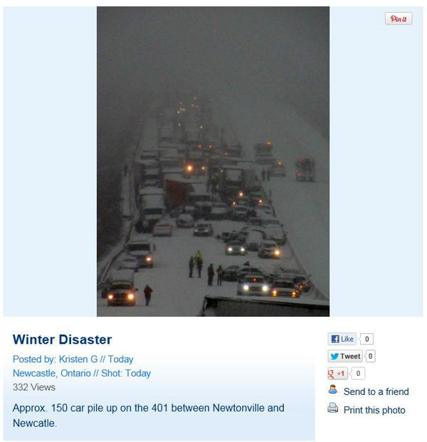 Nicole Karkic (@NicoleKarkic): Picture of the massive pile up on the 401 uploaded to @weathernetwork website. http://t.co/4vAqRpKS