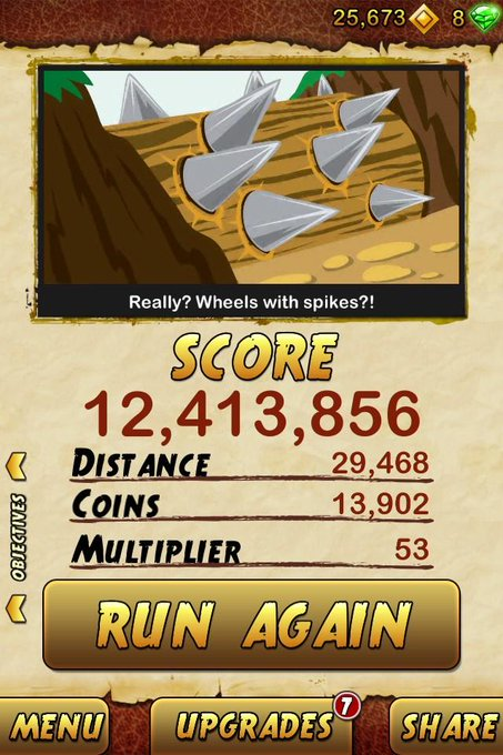Ok so a lot of you keep tweeting me your Temple Run 2 scores like they were good or something