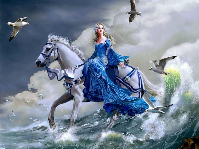 Конь, Nene thomas, чайки, арт, волна, море, девушка, лошадь HD обои на