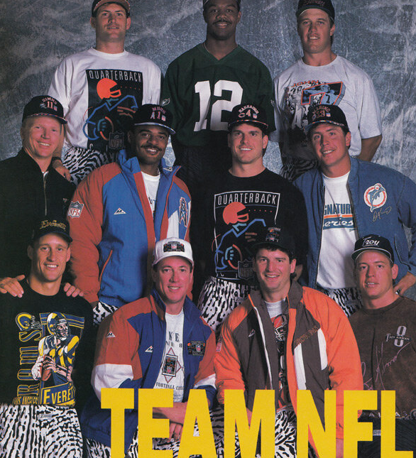 Jim Harbaugh Dan Marino Troy Aikman And Other 90s NFL QBs Rocking Zubaz Pants