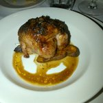 Course #4. Quail stuffed with Boudin,sweet potato and brown gravy. So good! Emeril is on a rampage. Restaurant full