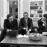 Wait a minute... RT @whitehouse: Photo of the Day: Obama meets with speechwriters Cody Keenan and Jon Favreau: