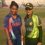 India and Pakistan captains at the toss for #wwc13 7th place play-off at Cuttack #cricket #IndvsPak http://t.co/qJMRykyu