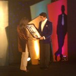 """@BachchanFC: PIC: Abhishek Bachchan receives Youth Icon Award from Zeenat Aman at HT Style Awards"