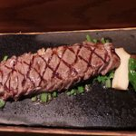 Kevin ordered a hot rock grilled steak which looked delicious  the cut is ny strip washugyu beef http://t.co/lPGa68V0