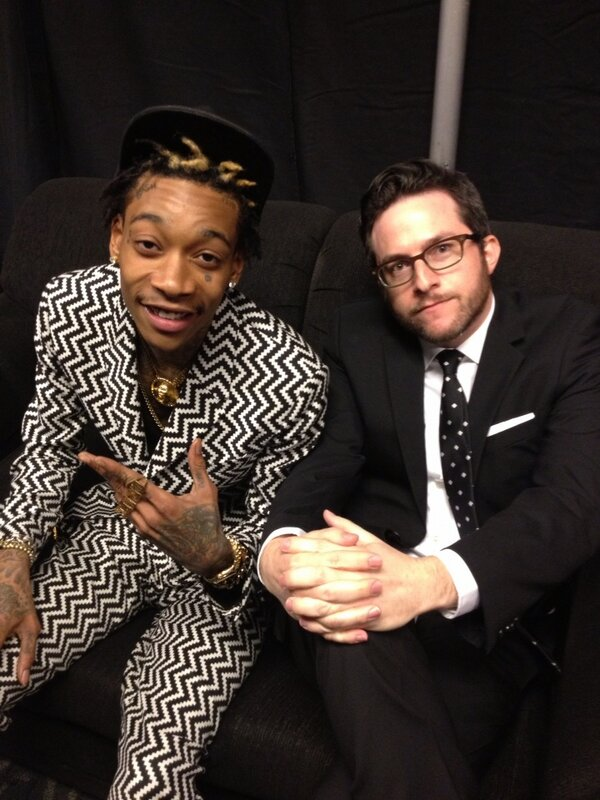 Back stage with @benjybenjy and @wizkhalifa #grammys http://t.co/ygWnr6Ve