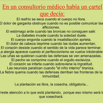 En un consultorio medico había un cartel que decía...... http://t.co/L37LAtPxCX