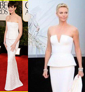 Charlize Theron y Anne Hathaway... Una en los Golden Globes y otra en los #Oscar2013, qué opinan? http://t.co/xRe5Djz3v8