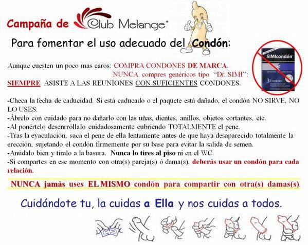 Club Melange (@ClubMelange): CAMPAÑA de CLUB MELANGE para fomentar el uso adecuado del Condón: http://t.co/xTywigctZl